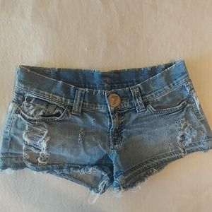 7 for all mankind very distressed booty jean short